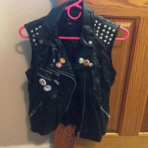 Faux Leather Studded Vest